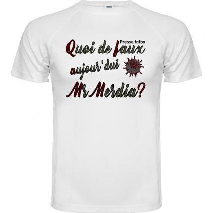 Tee shirt anti media homme couleur blanc